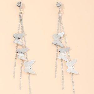 Delicate Butterfly Silver Tassel CZ  Drop Earrings